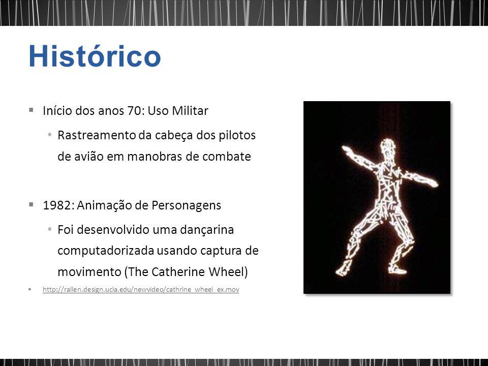 Início dos anos 70: Uso Militar Rastreamento da cabeça dos pilotos de avião em manobras de combate 1982: Animação de Personagens Foi desenvolvido uma dançarina computadorizada usando captura de movimento (The Catherine Wheel) http://rallen.design.ucla.edu/newvideo/cathrine_wheel_ex.mov