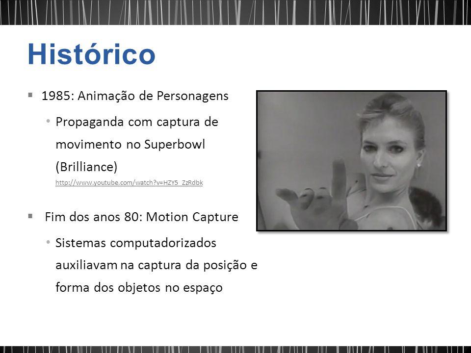 1985: Animação de Personagens Propaganda com captura de movimento no Superbowl (Brilliance) http://www.youtube.com/watch?v=HZY5_ZzRdbk http://www.youtube.com/watch?v=HZY5_ZzRdbk Fim dos anos 80: Motion Capture Sistemas computadorizados auxiliavam na captura da posição e forma dos objetos no espaço