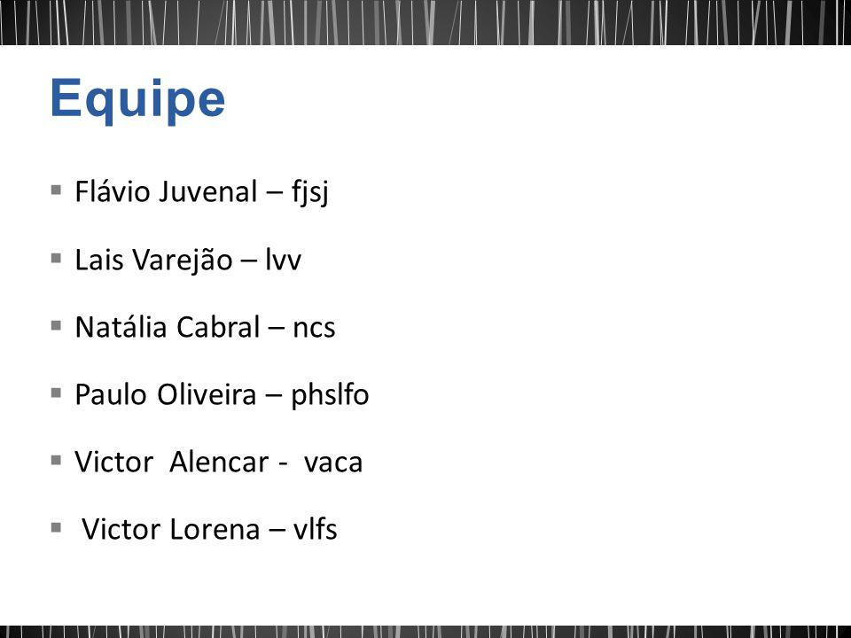 Flávio Juvenal – fjsj Lais Varejão – lvv Natália Cabral – ncs Paulo Oliveira – phslfo Victor Alencar - vaca Victor Lorena – vlfs