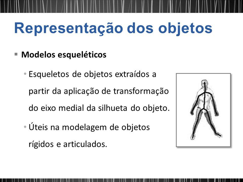 Modelos esqueléticos Esqueletos de objetos extraídos a partir da aplicação de transformação do eixo medial da silhueta do objeto. Úteis na modelagem d