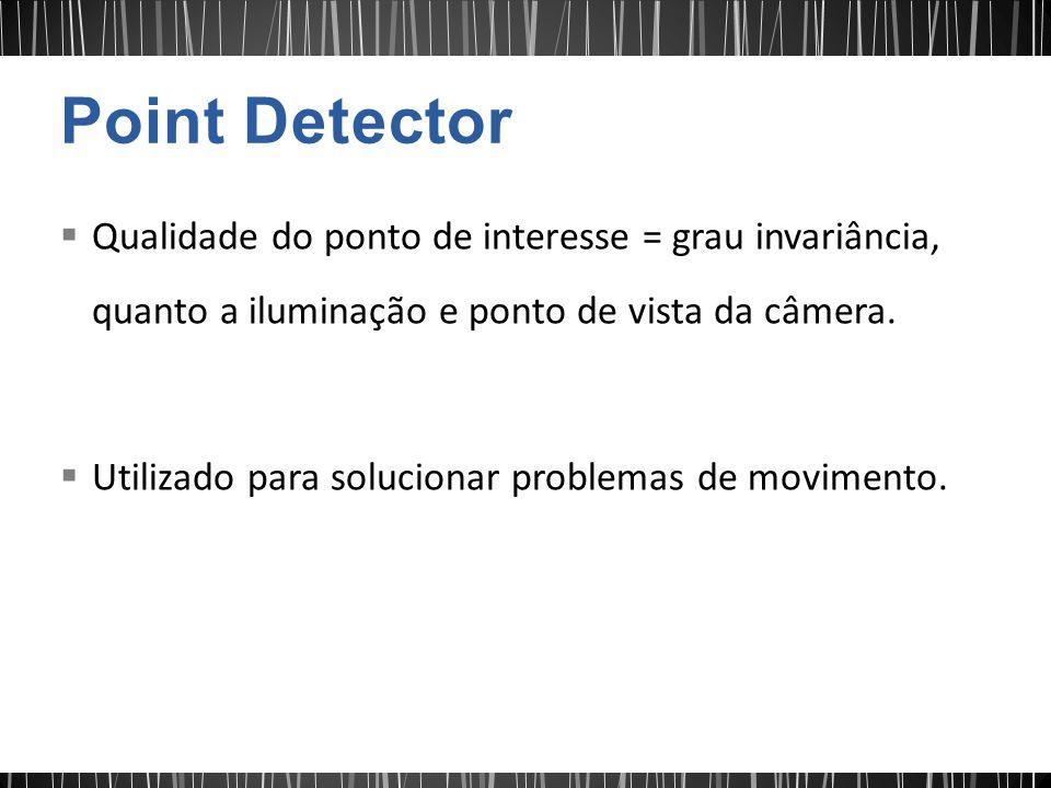 Qualidade do ponto de interesse = grau invariância, quanto a iluminação e ponto de vista da câmera. Utilizado para solucionar problemas de movimento.