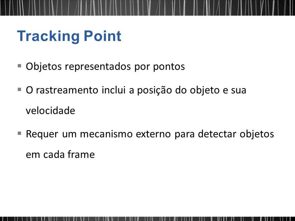Objetos representados por pontos O rastreamento inclui a posição do objeto e sua velocidade Requer um mecanismo externo para detectar objetos em cada frame