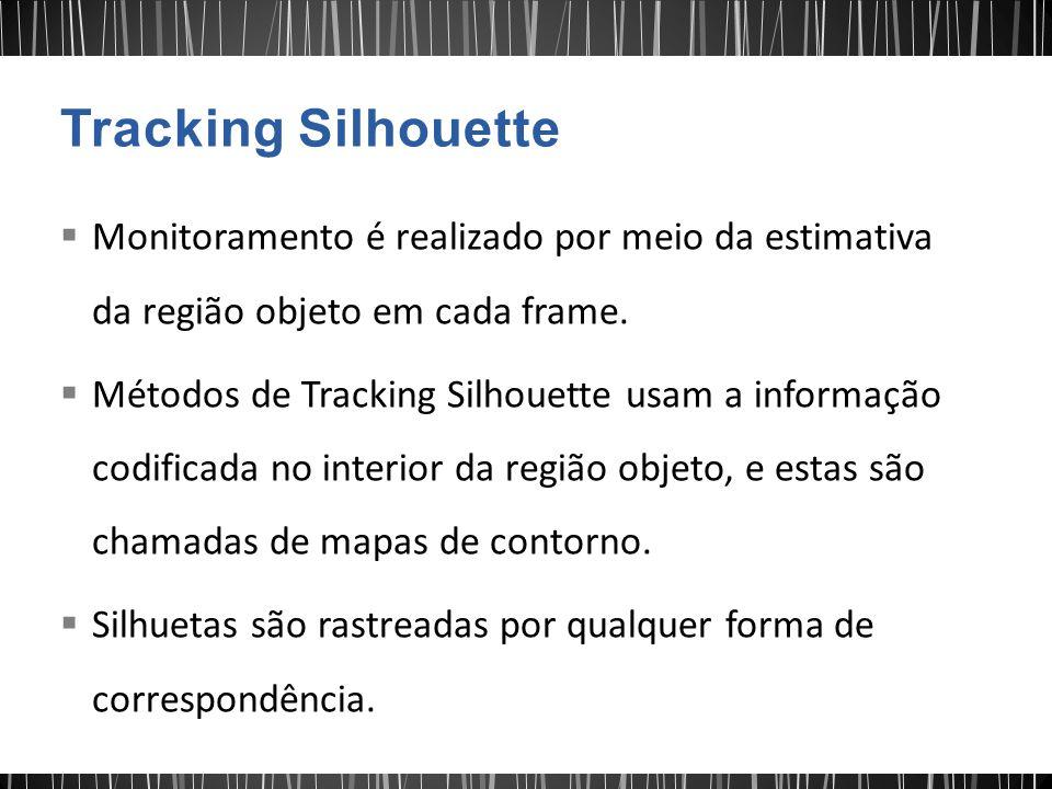 Monitoramento é realizado por meio da estimativa da região objeto em cada frame. Métodos de Tracking Silhouette usam a informação codificada no interi