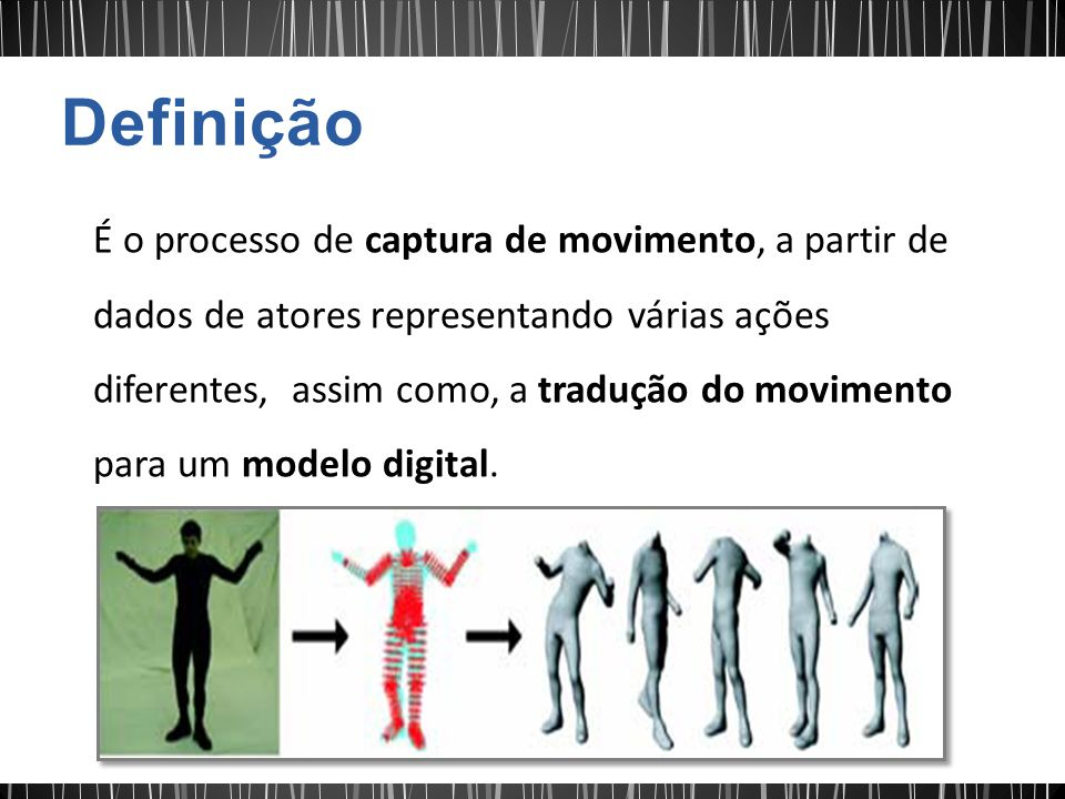 É o processo de captura de movimento, a partir de dados de atores representando várias ações diferentes, assim como, a tradução do movimento para um m