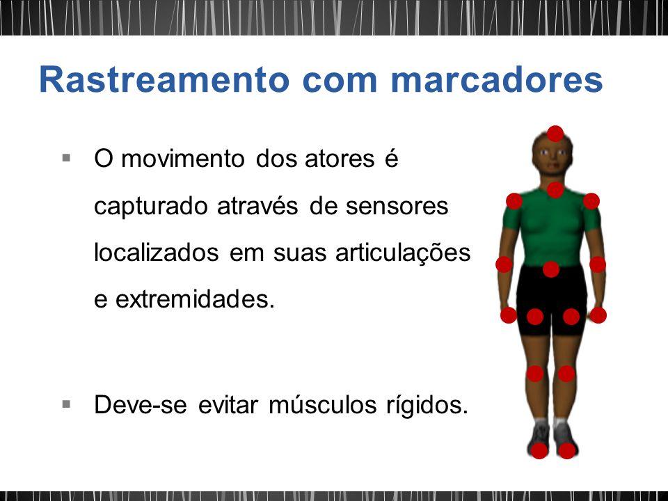 O movimento dos atores é capturado através de sensores localizados em suas articulações e extremidades.