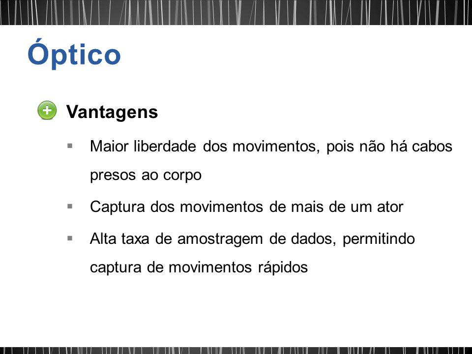 Vantagens Maior liberdade dos movimentos, pois não há cabos presos ao corpo Captura dos movimentos de mais de um ator Alta taxa de amostragem de dados, permitindo captura de movimentos rápidos