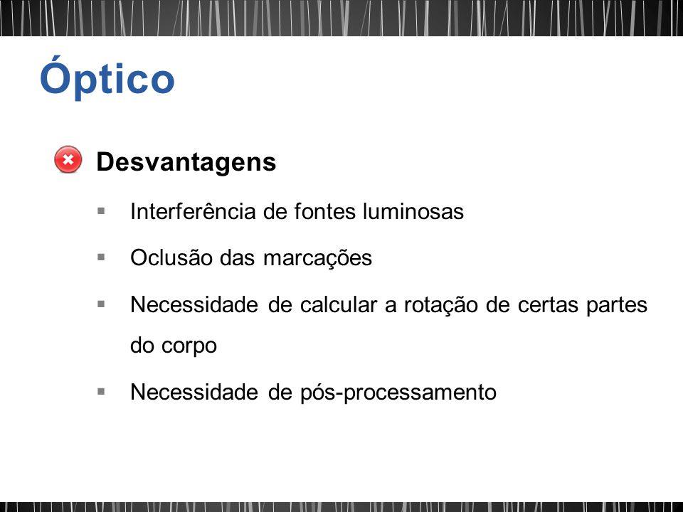 Desvantagens Interferência de fontes luminosas Oclusão das marcações Necessidade de calcular a rotação de certas partes do corpo Necessidade de pós-pr