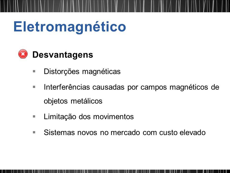 Desvantagens Distorções magnéticas Interferências causadas por campos magnéticos de objetos metálicos Limitação dos movimentos Sistemas novos no merca
