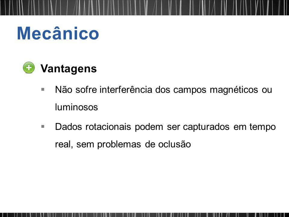 Vantagens Não sofre interferência dos campos magnéticos ou luminosos Dados rotacionais podem ser capturados em tempo real, sem problemas de oclusão