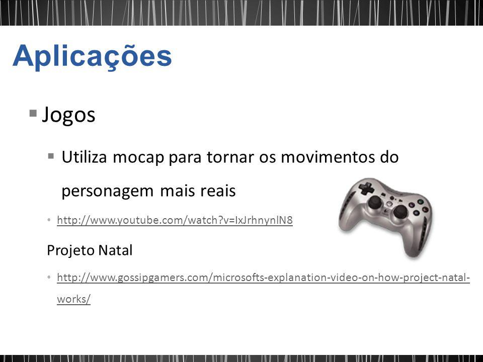 Jogos Utiliza mocap para tornar os movimentos do personagem mais reais http://www.youtube.com/watch?v=IxJrhnynlN8 Projeto Natal http://www.gossipgamers.com/microsofts-explanation-video-on-how-project-natal- works/ http://www.gossipgamers.com/microsofts-explanation-video-on-how-project-natal- works/