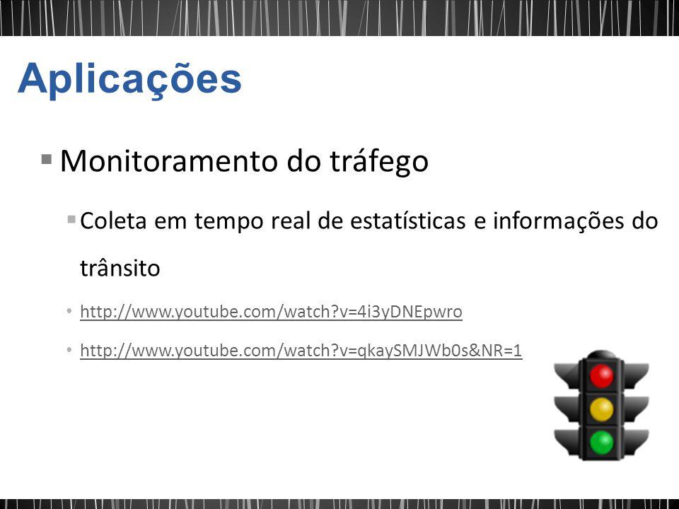 Monitoramento do tráfego Coleta em tempo real de estatísticas e informações do trânsito http://www.youtube.com/watch?v=4i3yDNEpwro http://www.youtube.com/watch?v=qkaySMJWb0s&NR=1