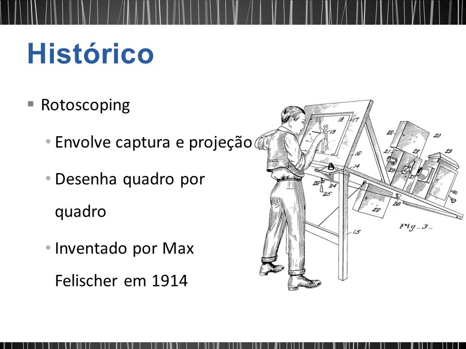 Rotoscoping Envolve captura e projeção Desenha quadro por quadro Inventado por Max Felischer em 1914