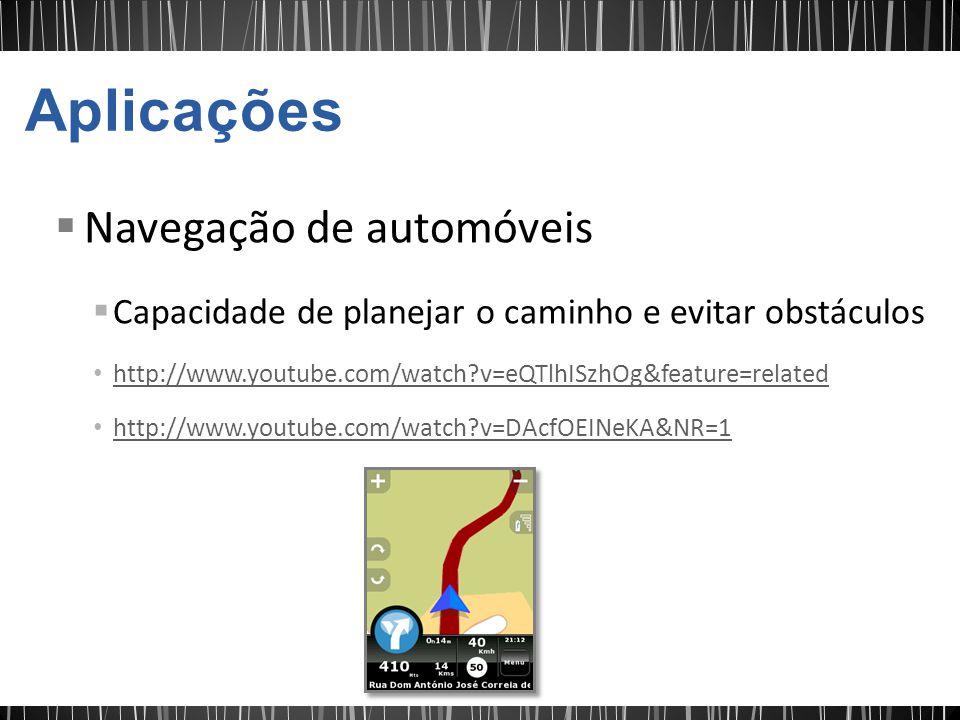 Navegação de automóveis Capacidade de planejar o caminho e evitar obstáculos http://www.youtube.com/watch?v=eQTlhISzhOg&feature=related http://www.youtube.com/watch?v=DAcfOEINeKA&NR=1