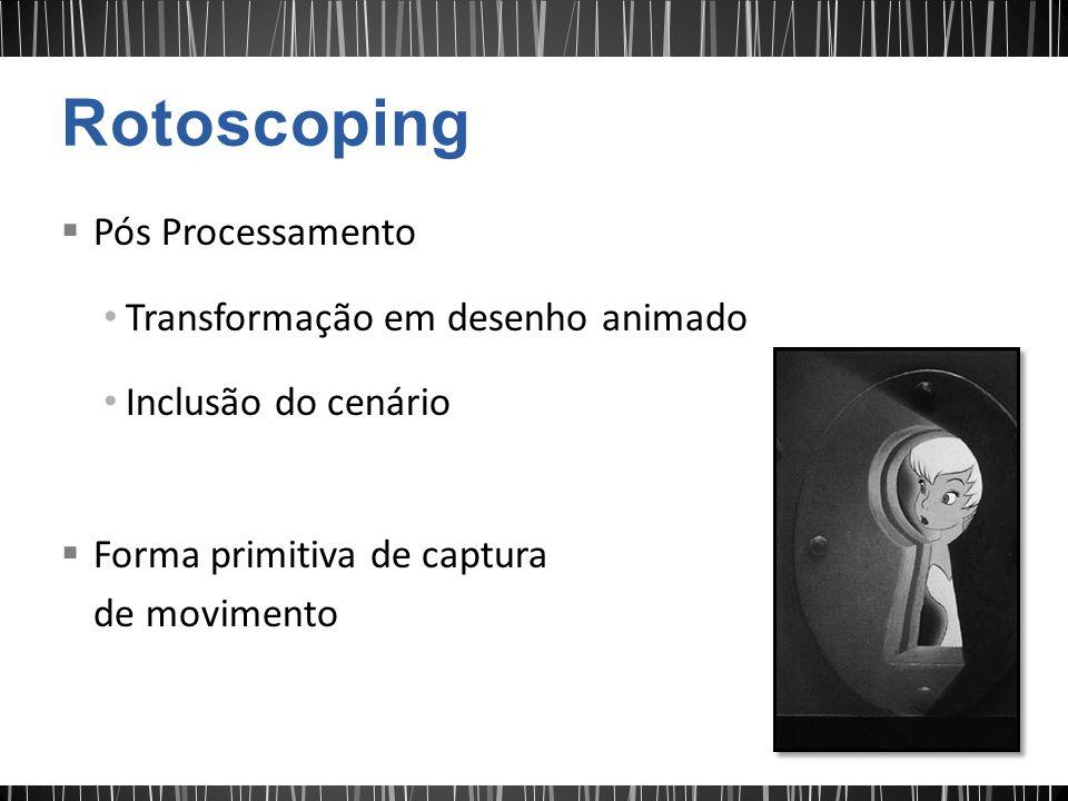 Pós Processamento Transformação em desenho animado Inclusão do cenário Forma primitiva de captura de movimento