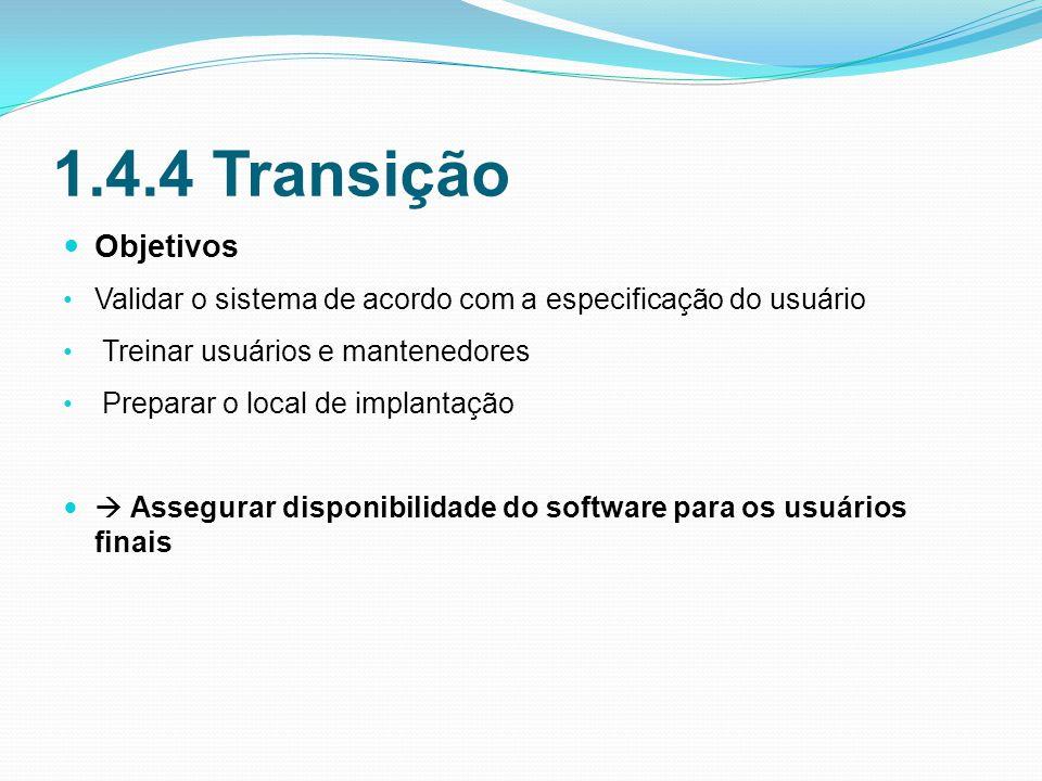 1.4.4 Transição Objetivos Validar o sistema de acordo com a especificação do usuário Treinar usuários e mantenedores Preparar o local de implantação Assegurar disponibilidade do software para os usuários finais