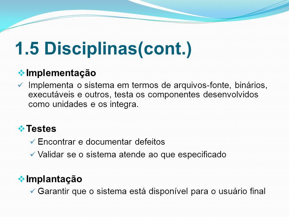 1.5 Disciplinas(cont.) Implementação Implementa o sistema em termos de arquivos-fonte, binários, executáveis e outros, testa os componentes desenvolvidos como unidades e os integra.