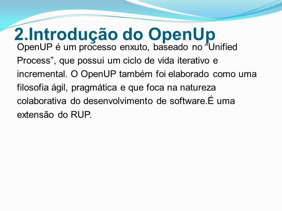 2.Introdução do OpenUp OpenUP é um processo enxuto, baseado no Unified Process, que possui um ciclo de vida iterativo e incremental.