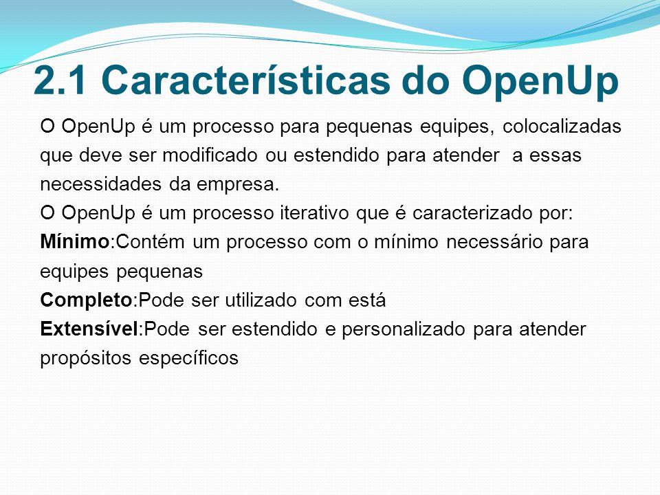 2.1 Características do OpenUp O OpenUp é um processo para pequenas equipes, colocalizadas que deve ser modificado ou estendido para atender a essas necessidades da empresa.