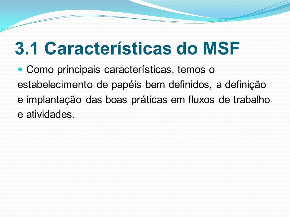3.1 Características do MSF Como principais características, temos o estabelecimento de papéis bem definidos, a definição e implantação das boas práticas em fluxos de trabalho e atividades.