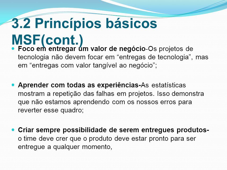 3.2 Princípios básicos MSF(cont.) Foco em entregar um valor de negócio-Os projetos de tecnologia não devem focar em entregas de tecnologia, mas em entregas com valor tangível ao negócio; Aprender com todas as experiências-As estatísticas mostram a repetição das falhas em projetos.