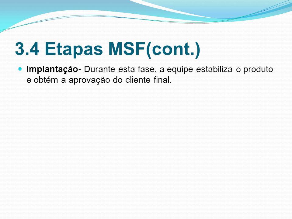 3.4 Etapas MSF(cont.) Implantação- Durante esta fase, a equipe estabiliza o produto e obtém a aprovação do cliente final.