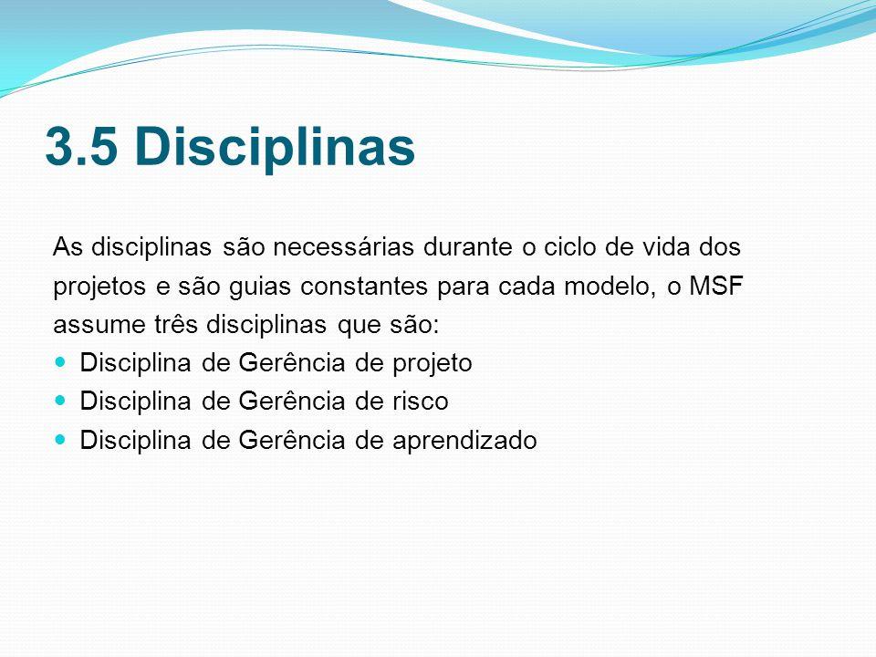 3.5 Disciplinas As disciplinas são necessárias durante o ciclo de vida dos projetos e são guias constantes para cada modelo, o MSF assume três disciplinas que são: Disciplina de Gerência de projeto Disciplina de Gerência de risco Disciplina de Gerência de aprendizado