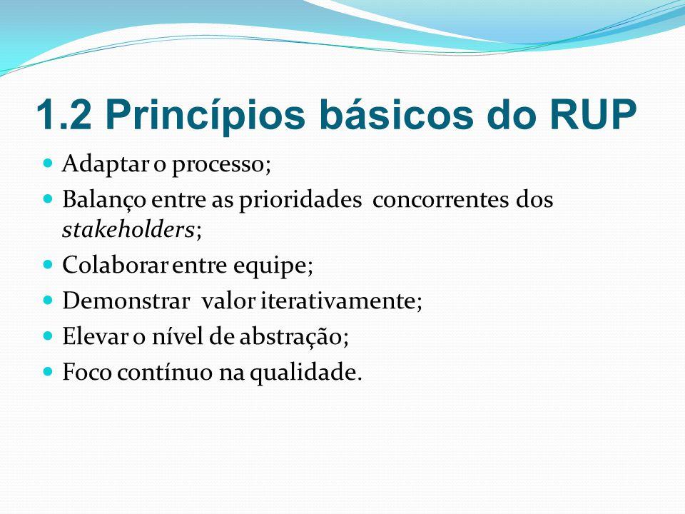 1.2 Princípios básicos do RUP Adaptar o processo; Balanço entre as prioridades concorrentes dos stakeholders; Colaborar entre equipe; Demonstrar valor iterativamente; Elevar o nível de abstração; Foco contínuo na qualidade.