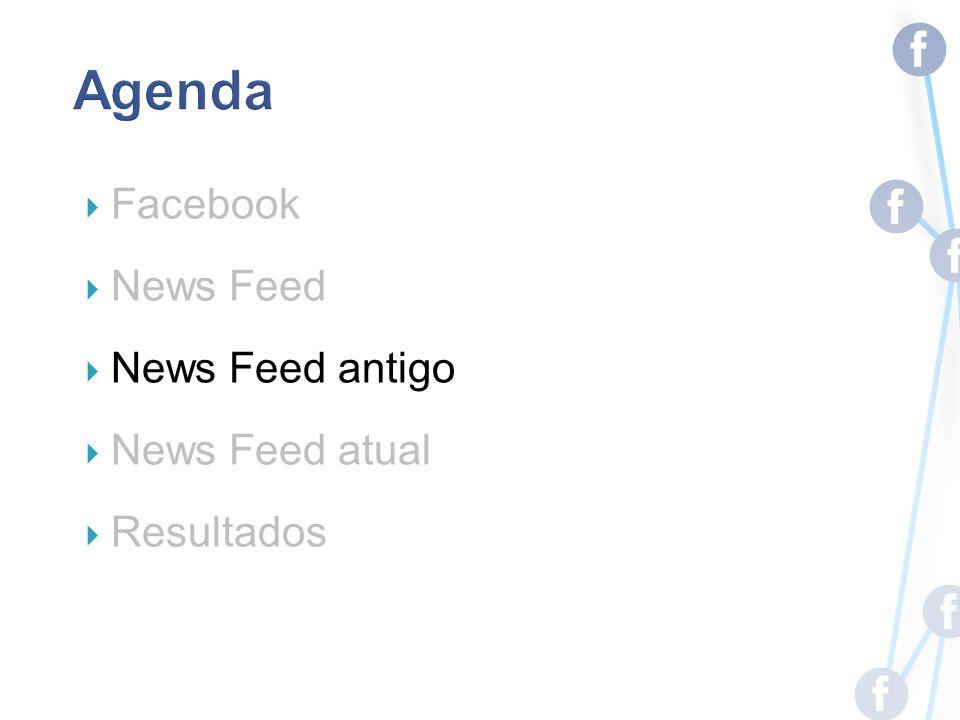 Facebook News Feed News Feed antigo News Feed atual Resultados