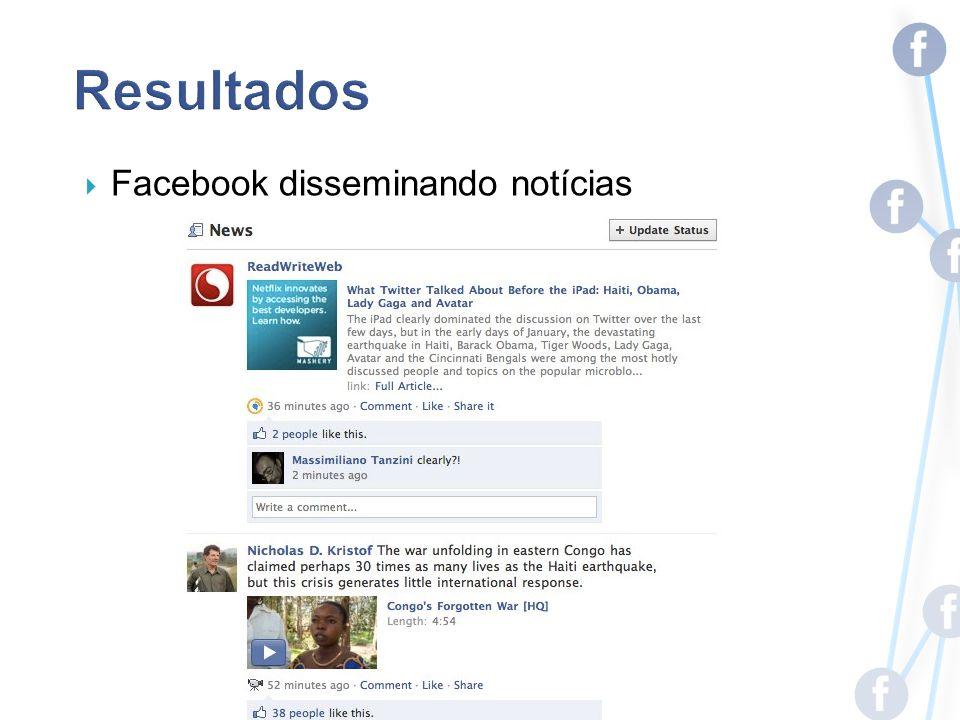 Facebook disseminando notícias