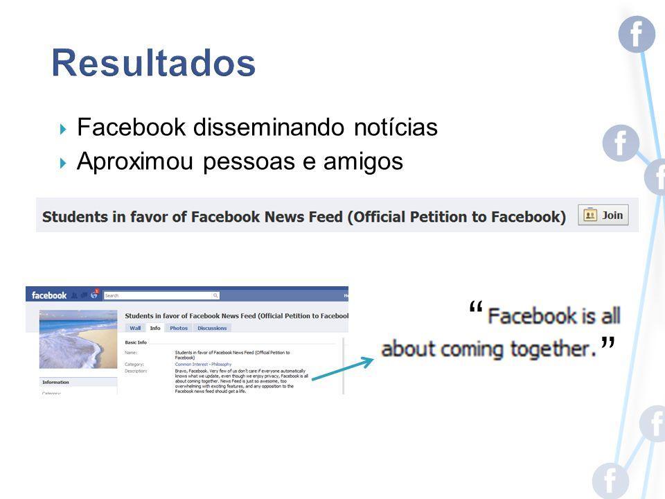 Facebook disseminando notícias Aproximou pessoas e amigos
