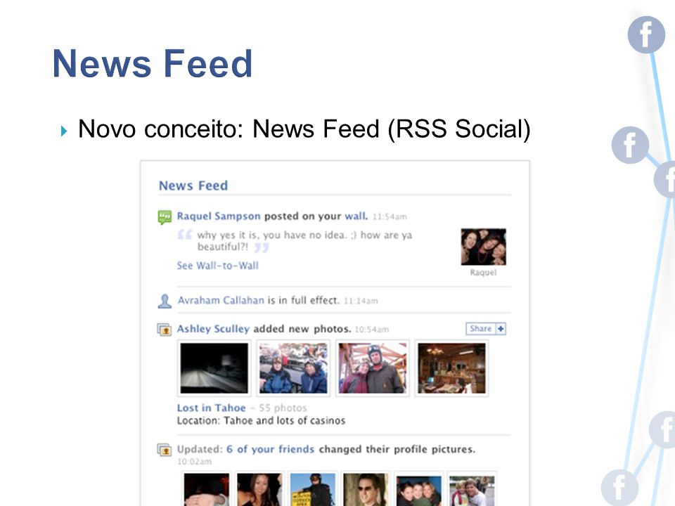 Novo conceito: News Feed (RSS Social)