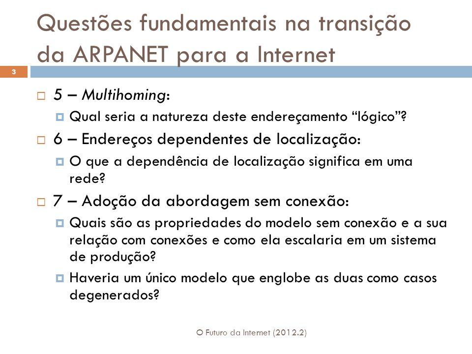 Questões fundamentais na transição da ARPANET para a Internet O Futuro da Internet (2012.2) 3 5 – Multihoming: Qual seria a natureza deste endereçamento lógico.