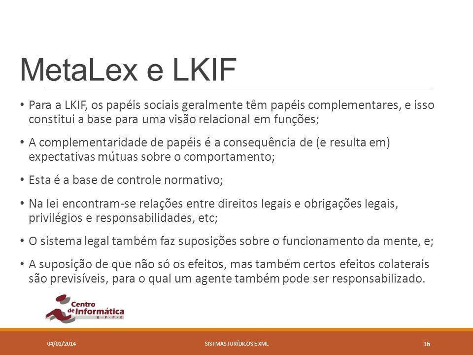 MetaLex e LKIF Para a LKIF, os papéis sociais geralmente têm papéis complementares, e isso constitui a base para uma visão relacional em funções; A co