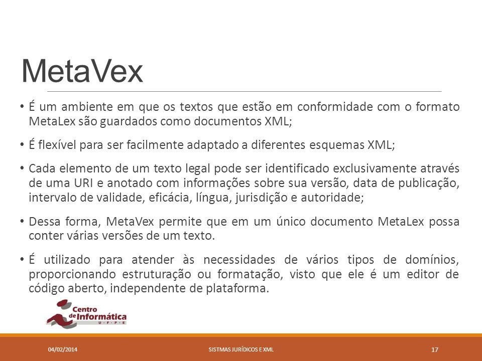 MetaVex É um ambiente em que os textos que estão em conformidade com o formato MetaLex são guardados como documentos XML; É flexível para ser facilmen