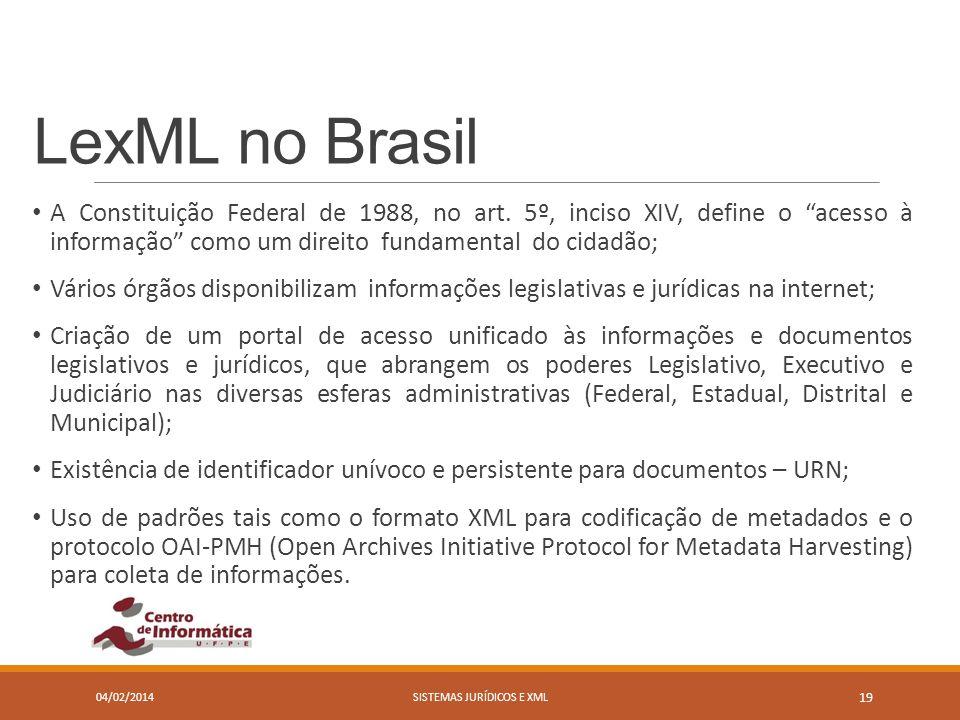 LexML no Brasil A Constituição Federal de 1988, no art. 5º, inciso XIV, define o acesso à informação como um direito fundamental do cidadão; Vários ór