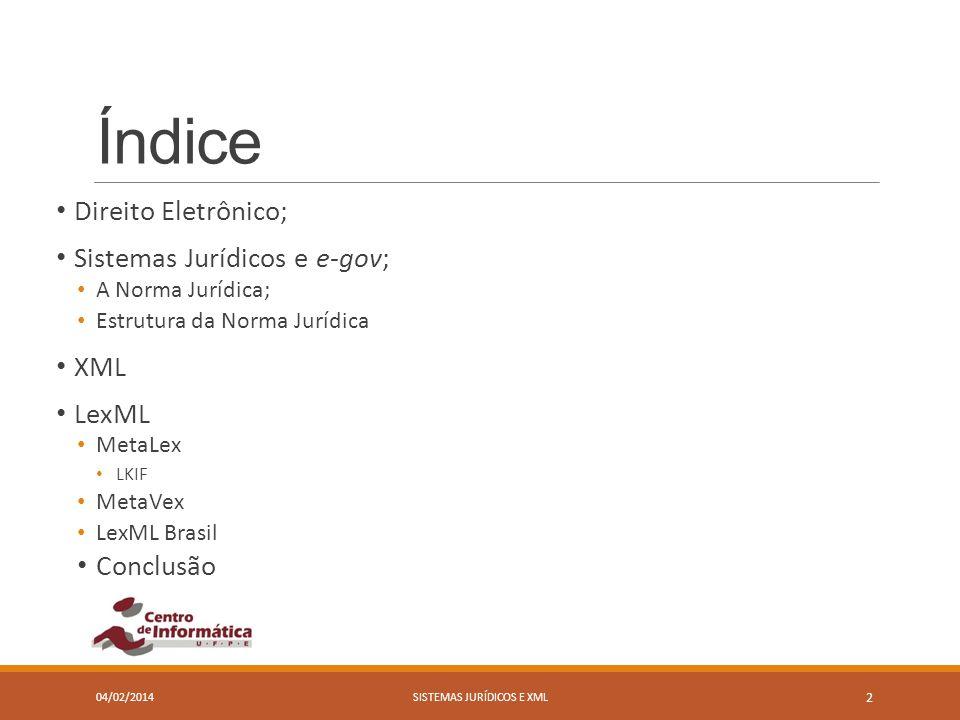 Índice Direito Eletrônico; Sistemas Jurídicos e e-gov; A Norma Jurídica; Estrutura da Norma Jurídica XML LexML MetaLex LKIF MetaVex LexML Brasil Concl