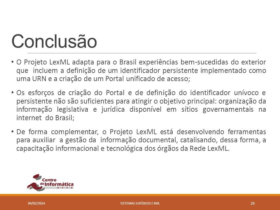 Conclusão O Projeto LexML adapta para o Brasil experiências bem-sucedidas do exterior que incluem a definição de um identificador persistente implemen