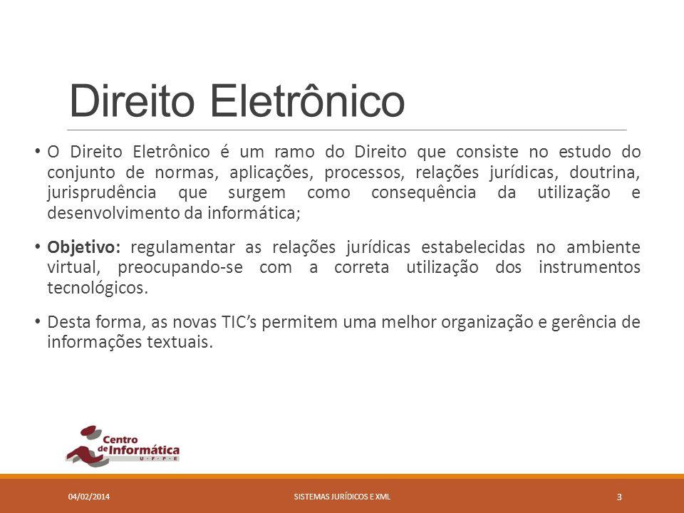 Direito Eletrônico 04/02/2014SISTEMAS JURÍDICOS E XML 3 O Direito Eletrônico é um ramo do Direito que consiste no estudo do conjunto de normas, aplica