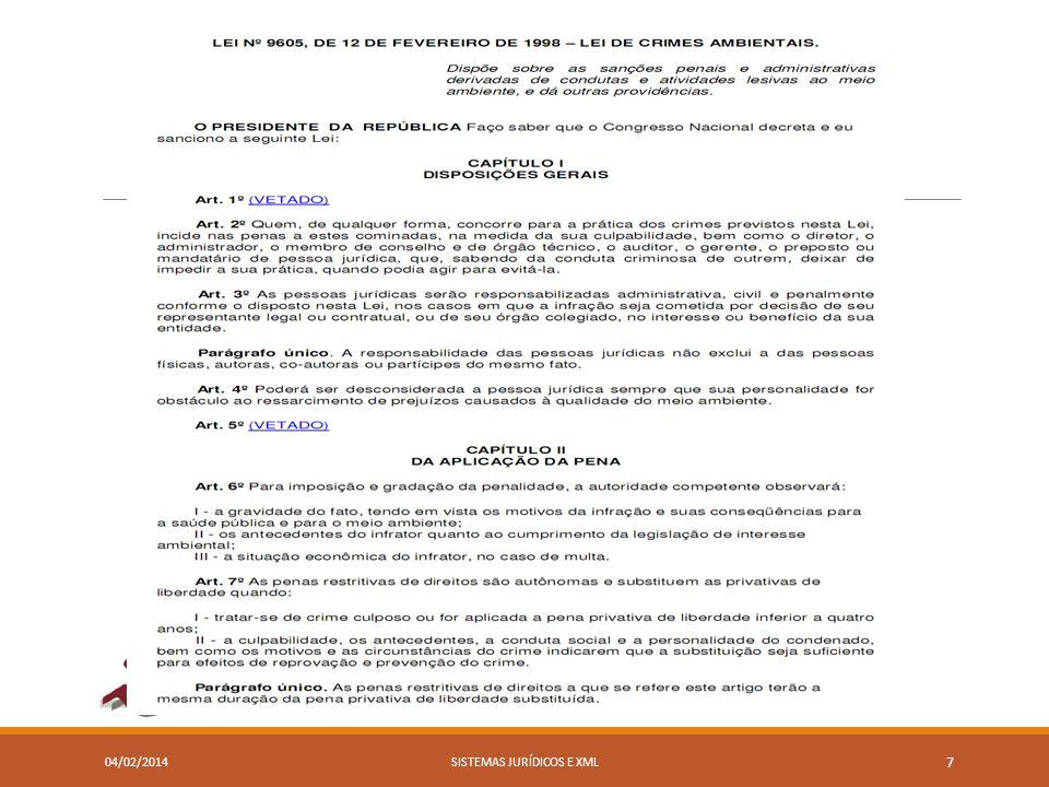 04/02/2014SISTEMAS JURÍDICOS E XML 7