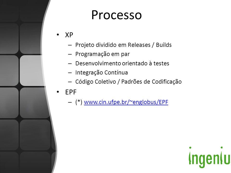 Processo XP – Projeto dividido em Releases / Builds – Programação em par – Desenvolvimento orientado à testes – Integração Contínua – Código Coletivo / Padrões de Codificação EPF – (*) www.cin.ufpe.br/~englobus/EPFwww.cin.ufpe.br/~englobus/EPF