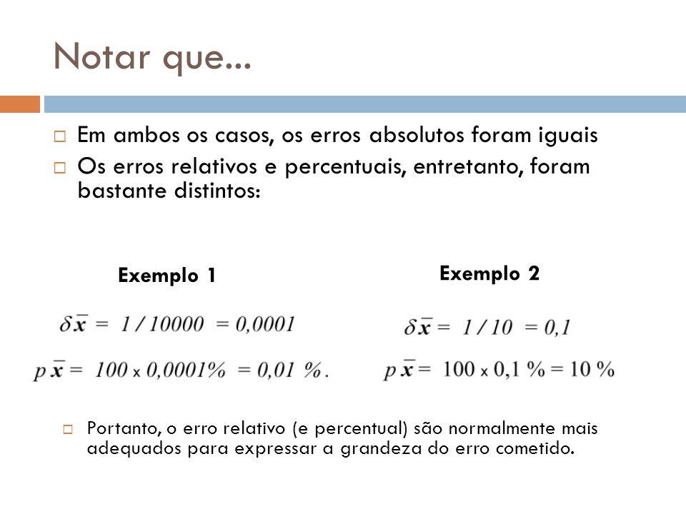Notar que... Em ambos os casos, os erros absolutos foram iguais Os erros relativos e percentuais, entretanto, foram bastante distintos: Exemplo 1 Exem