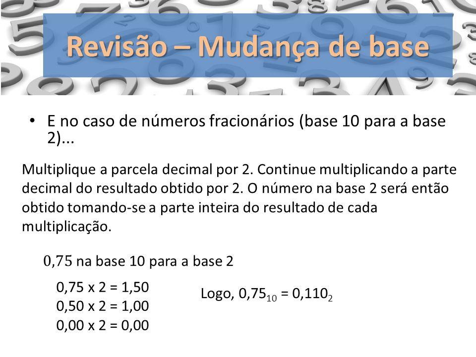 Revisão – Mudança de base Multiplique a parcela decimal por 2. Continue multiplicando a parte decimal do resultado obtido por 2. O número na base 2 se