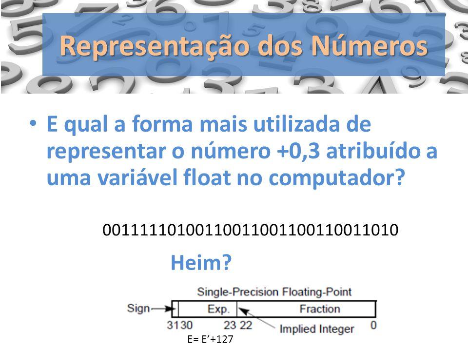 E qual a forma mais utilizada de representar o número +0,3 atribuído a uma variável float no computador? Representação dos Números 0011111010011001100