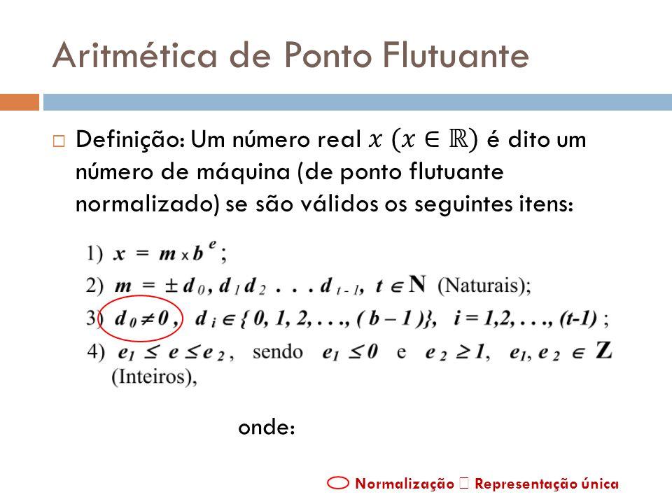 Aritmética de Ponto Flutuante onde: Normalização Representação única