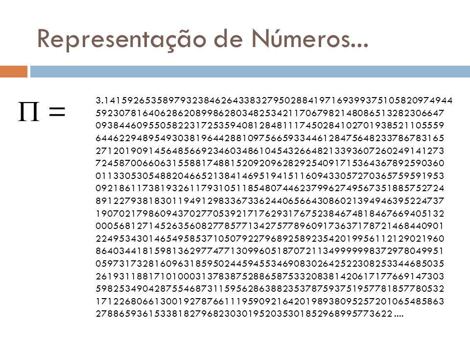 Representação de Números... = 3.141592653589793238462643383279502884197169399375105820974944 592307816406286208998628034825342117067982148086513282306