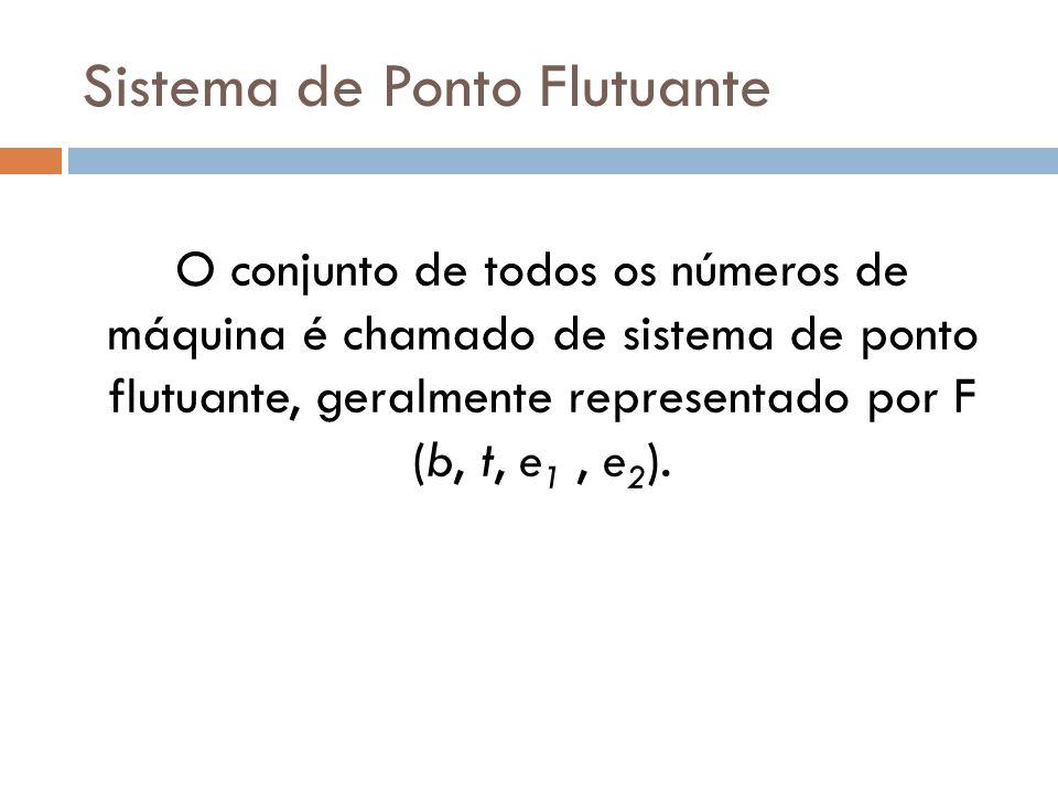 Sistema de Ponto Flutuante O conjunto de todos os números de máquina é chamado de sistema de ponto flutuante, geralmente representado por F (b, t, e 1