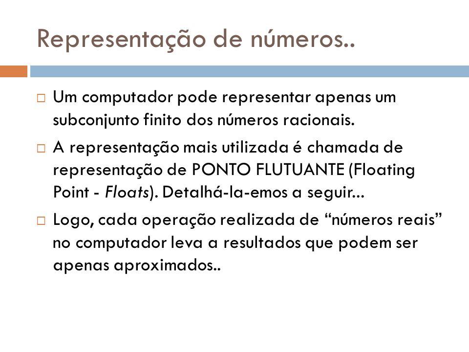 Representação de números.. Um computador pode representar apenas um subconjunto finito dos números racionais. A representação mais utilizada é chamada