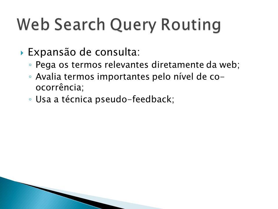 Expansão de consulta: Pega os termos relevantes diretamente da web; Avalia termos importantes pelo nível de co- ocorrência; Usa a técnica pseudo-feedback;