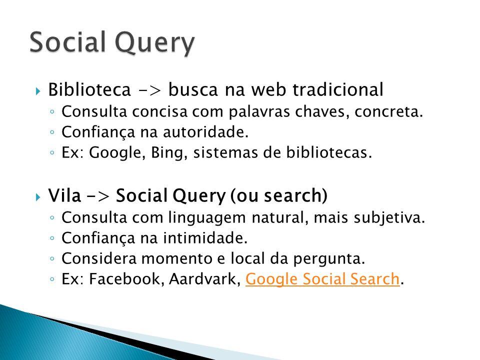 Biblioteca -> busca na web tradicional Consulta concisa com palavras chaves, concreta.