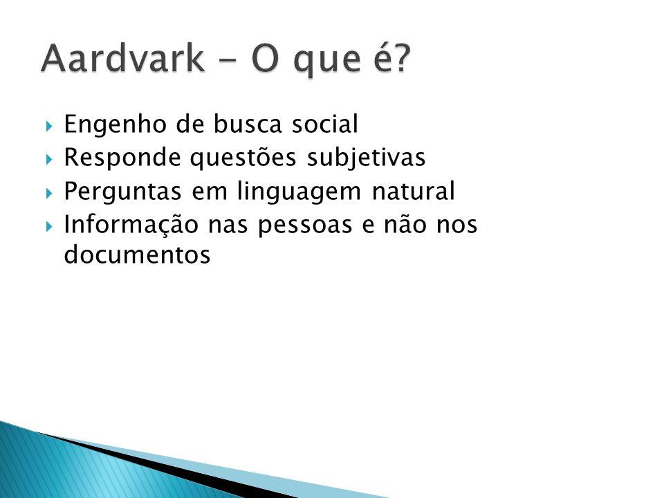 Engenho de busca social Responde questões subjetivas Perguntas em linguagem natural Informação nas pessoas e não nos documentos